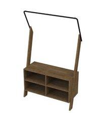 módulo arara para quarto ou closet lift c/ 1 cabideiro - vermont/preto - artesano