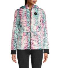 roberto cavalli women's padded snake-print jacket - size xl