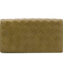 bottega veneta leather woven wallet - green