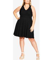 city chic trendy plus size cross-strap halter dress
