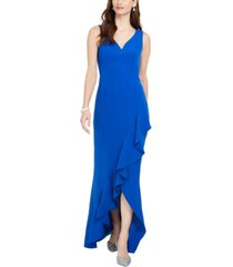 adrianna papell asymmetrical ruffle gown