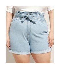 short clochard jeans plus size cintura super alta com barra dobrado e faixa para amarrar azul claro