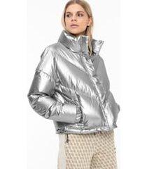 cropped donsjack voor dames, zilver, maat l | puma