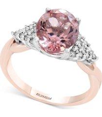 blush by effy morganite (2-1/2 ct. t.w.) & diamond (1/6 ct. t.w.) ring in 14k rose gold
