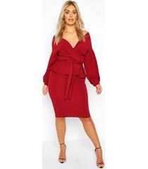 plus off the shoulder wrap peplum dress, wine