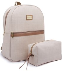 venta caliente online d57f1 e4bba kit mochila e estojo gc gouveia costa palha natural amêndoa
