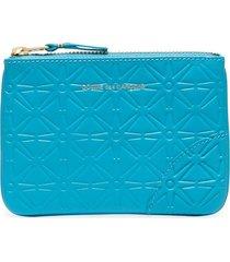 comme des garçons wallet embossed-design zipped wallet - blue