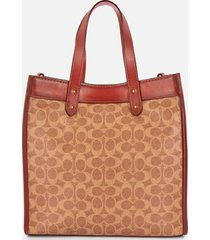 coach women's signature carriage field tote bag - tan truffle rust