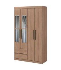 guarda roupa zeus 4 portas e 2 gavetas c/ espelho carvalho naturale móveis lopas marrom