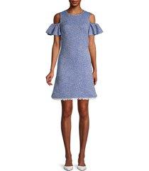 cotton-blend printed a-line dress