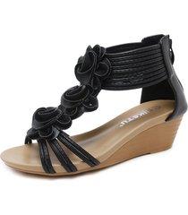 cómodas sandalias con boca de pez zapatos romanos de tacón