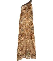 camilla lady lodge silk kaftan dress - brown