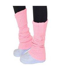 polaina 4 estações meia compressão lã quente conforto lisa esporte com botão rosa claro