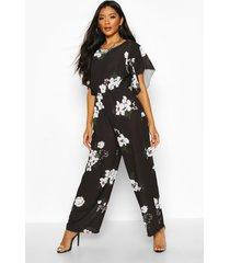 bloemenprint jumpsuit met engelenmouwen, black
