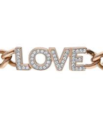 bracciale a maglie larghe in acciaio rosato love con strass per donna