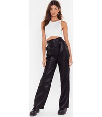 womens high-waisted pants in faux leather - black