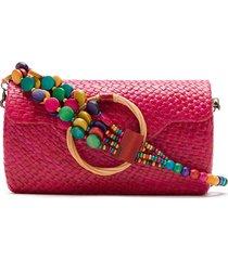 serpui straw clutch - pink