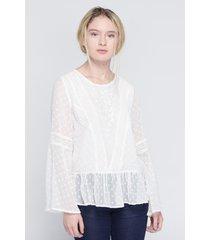 blusa semi transparente koaj - blanco