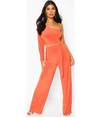 petite one shoulder tie waist jumpsuit, orange