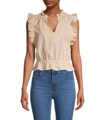 bb dakota women's are you frill cotton top - vintage ivory - size xs