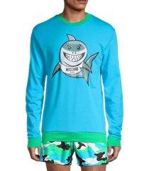 moschino men's cotton swim sweatshirt - blue sky - size s