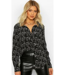tall blouse met abstract gezicht, black