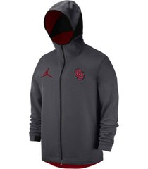 jordan oklahoma sooners men's dri-fit showtime hooded full-zip sweatshirt