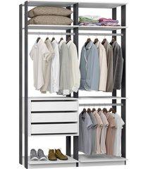 closet 3 gavetas 3 cabideiros branco espresso lilies móveis