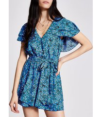 river island womens blue floral frill tie belted playsuit