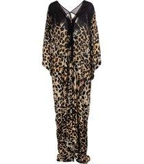 roberto cavalli kaftan dress with queen of sicily print