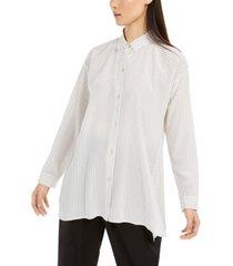 eileen fisher striped button-up silk shirt, regular & petite sizes