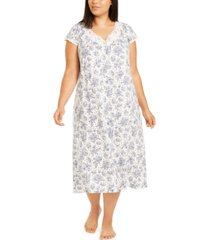 charter club plus size lace-trim floral-print nightgown, created for macy's