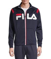fila men's matz tech logo track jacket - peach black - size m
