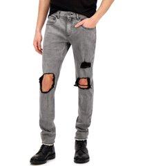 inc men's gray stonewash skinny jeans, created for macy's