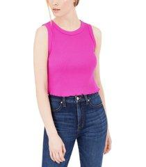 calvin klein jeans sleeveless waffle-knit crop top