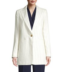lafayette 148 new york women's beau pinstripe linen blazer - mystic blue white combo - size 4