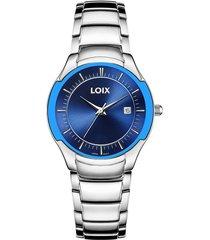reloj loix ref l1029-04 plata/azul