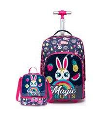 kit mochila de rodinha + lancheira spector coelho infantil escolar azul/rosa