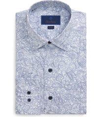 men's big & tall david donahue trim fit paisley dress shirt, size 18.5 - 36/37 - blue