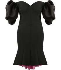 alexander mcqueen peplum hem off-shoulder dress - black