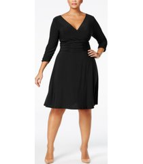 ny collection plus & petite plus size ruched a-line dress