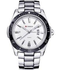 reloj hombre deportivo militar acero curren 8110 plateado blanco