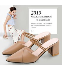 fashion closed toe buckle sandals women thick sandalias mujer