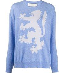 pringle of scotland lion rampant cashmere jumper - blue