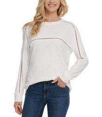 dkny jeans cutout-trim crewneck sweatshirt
