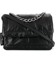 marc jacobs bolsa tiracolo com alça de mão em corrente - preto