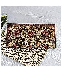 leather wallet, 'floating blossoms' (india)