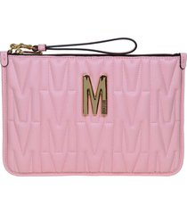 moschino flat quilted leather pouch color pink