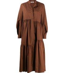 dorothee schumacher oversized poplin power dress - brown