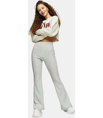 blue ribbed jersey flare pants - blue